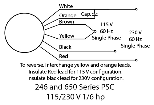 246 series ac psc 115v/230v dayton gearmotors wiring diagram for psc